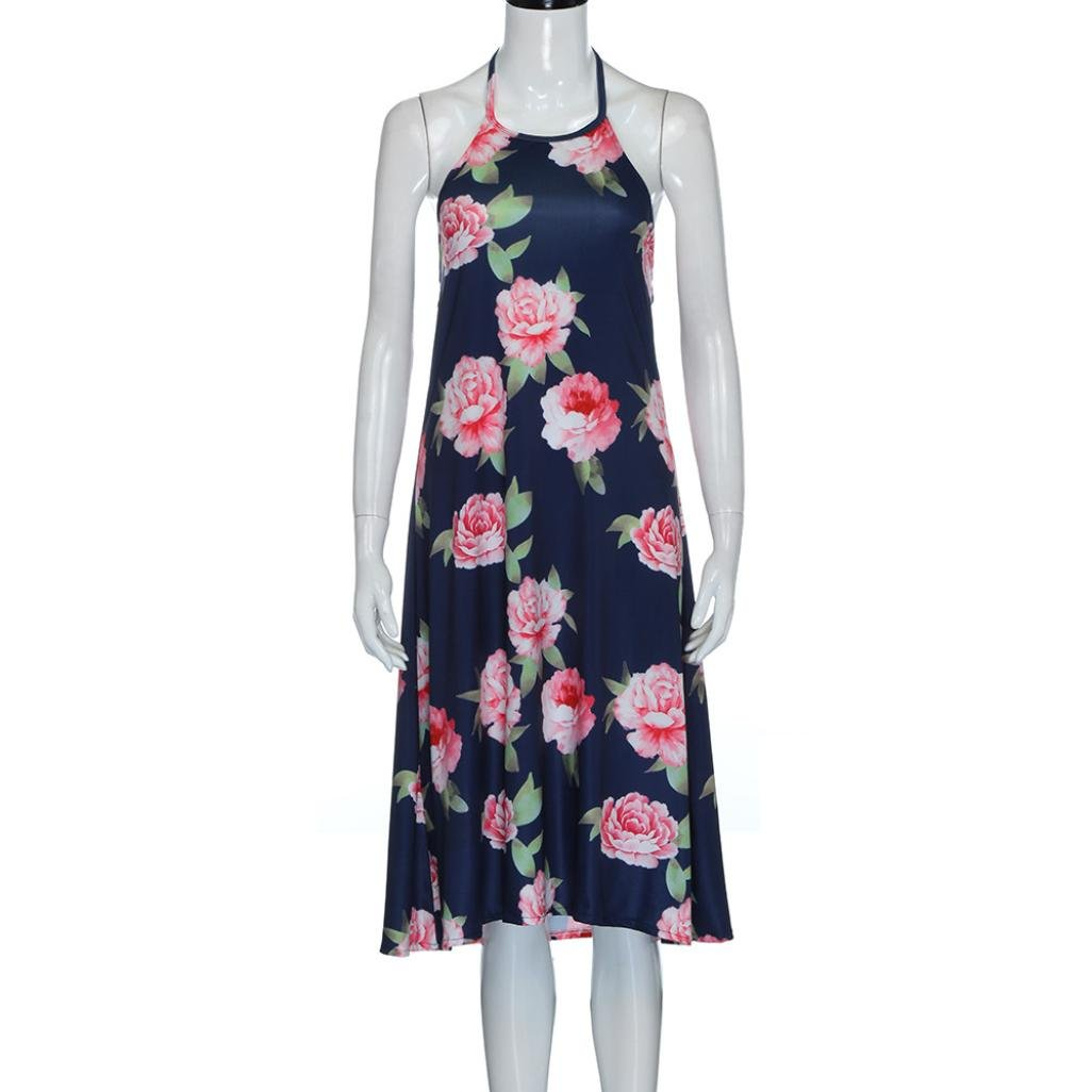 Franterd Mommy /& Me Summer Dress Family Matching Floral Clothes Parent-Child Beach Party Sleeveless Long Dresses