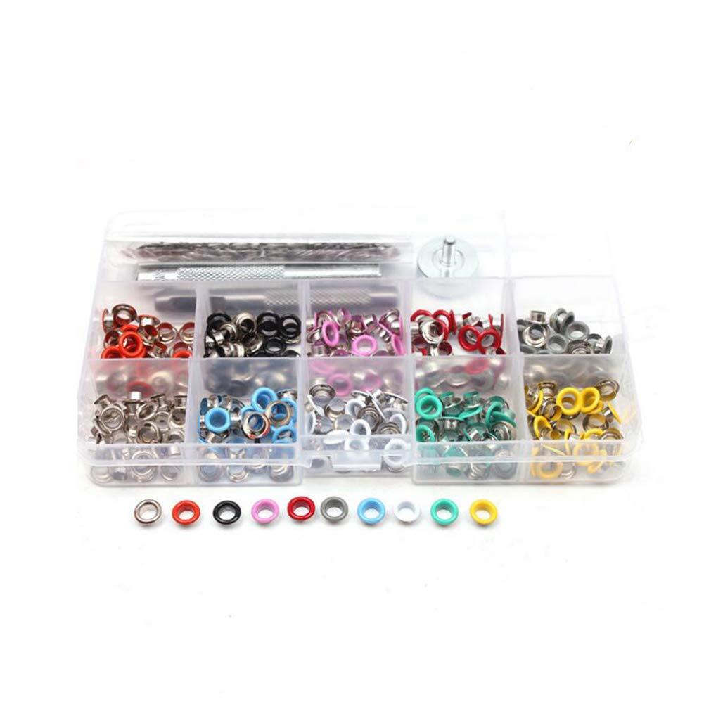SAIYU 300 Piezas 3/16 Pulgadas Kit de Ojales 10 Colores Ojal Herramienta de configuració n con 3 herramientas Grommet para Ropa de Lona de Cuero DIY