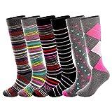 Running Cotton Compression Socks for Women& Men 15-20mmHg 6 Pair Value Pack