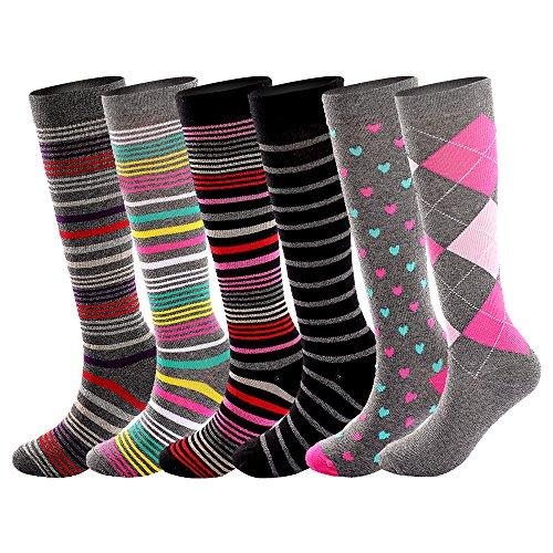 Football Value Pack - Running Cotton Compression Socks for Women& Men15-20mmhg Graduated 6 Pair Value Pack Knee High Nursing Socks, Maternity SocksA601