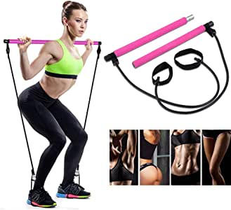 AMODAI Portable Pilates Bar Kit with Resistance Band Yoga Exercise Pilates Bar with Foot Loop Toning Bar Yoga Pilates for Yoga,Stretch,Twisting,Sit-Up Bar Resistance Band