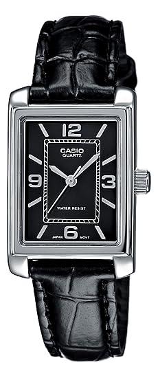 CASIO LTP1234L1AEF - Reloj de mujer - correa de piel - color negro: Amazon.es: Relojes