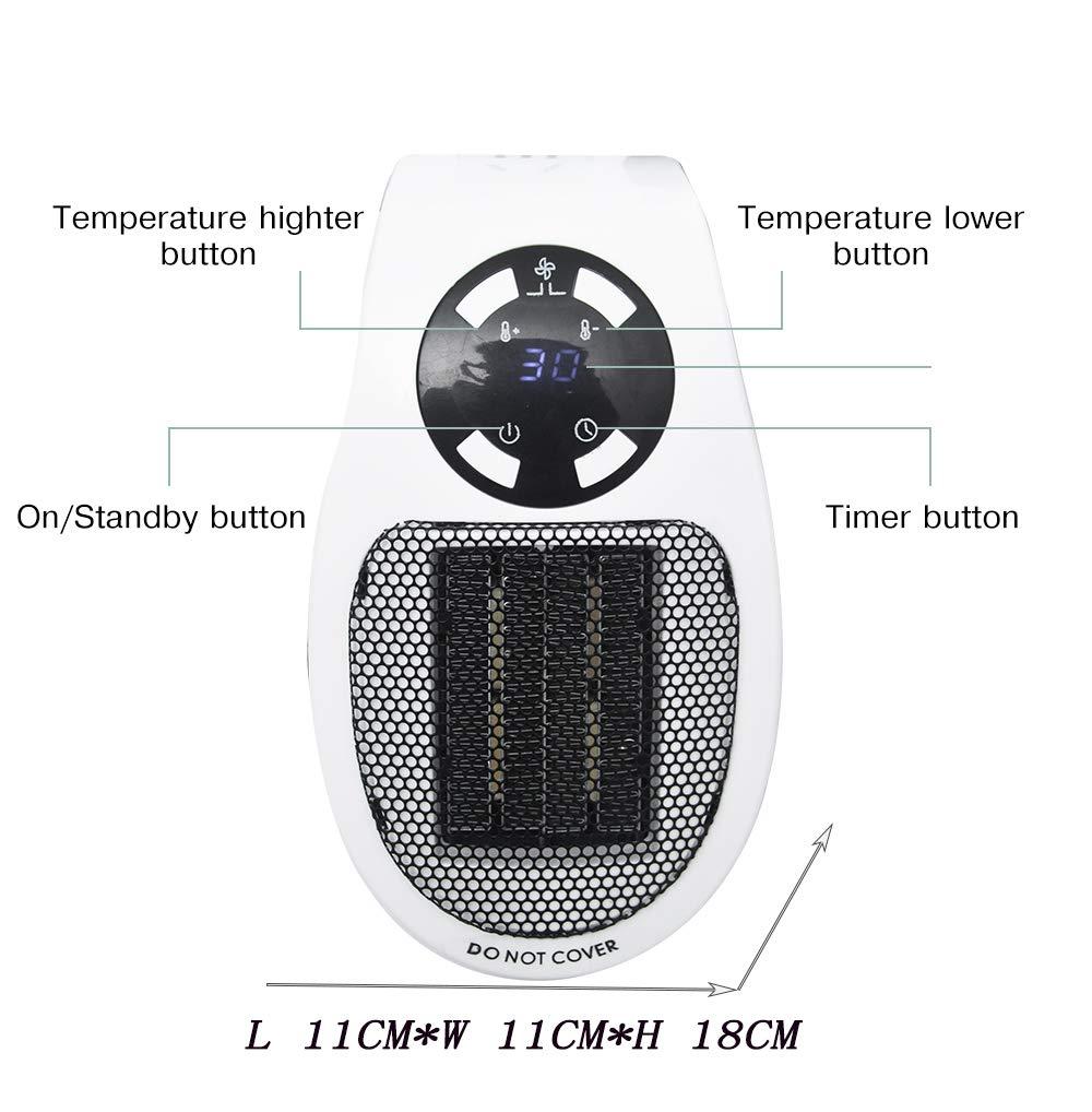 con tecnolog/ía de cer/ámica t/érmica para Calentar la Salida Negra hogar SQL Mini Enchufar/ Calefactor el/éctrico,Temporizador port/átil Calefacci/ón de Aire el/éctrico 500W para Oficina