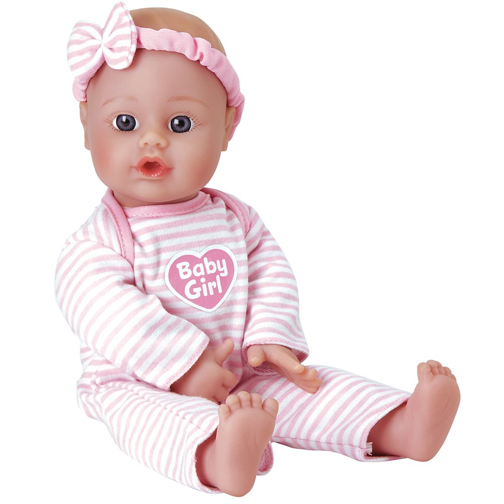 Adora ''Sweet Baby Girl Doll Washable Soft Body Vinyl Play Toy Gift 11-inch Light Skin & Blue Eyes for Children Age 1+