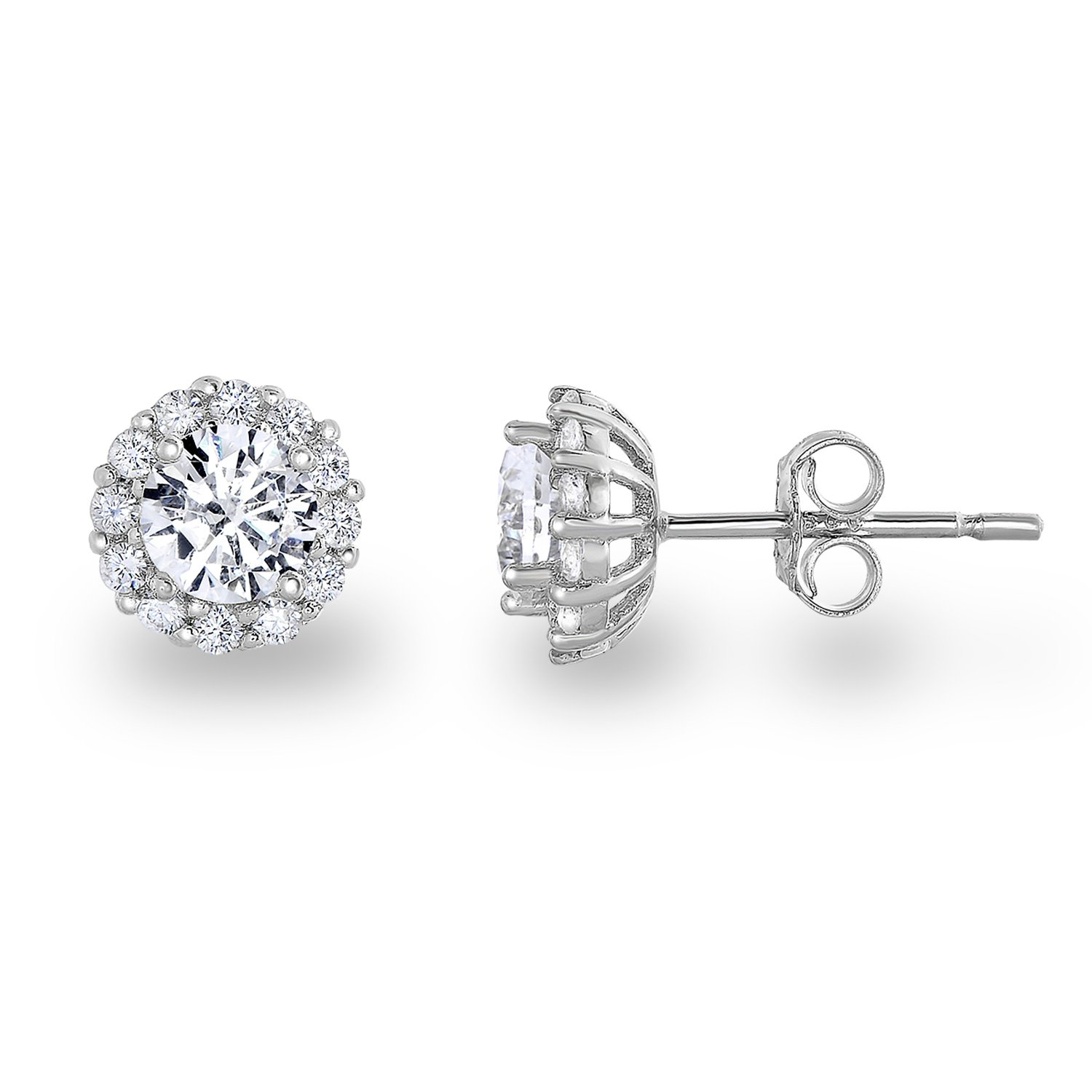 Rhodium Plated Sterling Silver Cubic Zirconia Classic Halo Stud Earrings,(Center Stone:5mm)