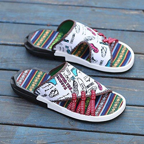 Xing Lin Sandalias De Cuero Zapatillas De Verano Verano Macho Ranurado Antideslizante Y Calzado De Playa Marea Del Hombre Sandalias Hombre De Gran Fresco Viento Étnicos Zapatillas Zapatos Blancos 43,1