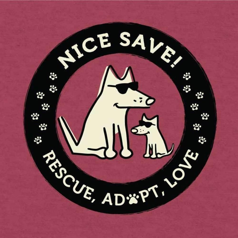 d52deceb Amazon.com: Teddy the Dog Nice Save! - Lightweight T-Shirt: Clothing