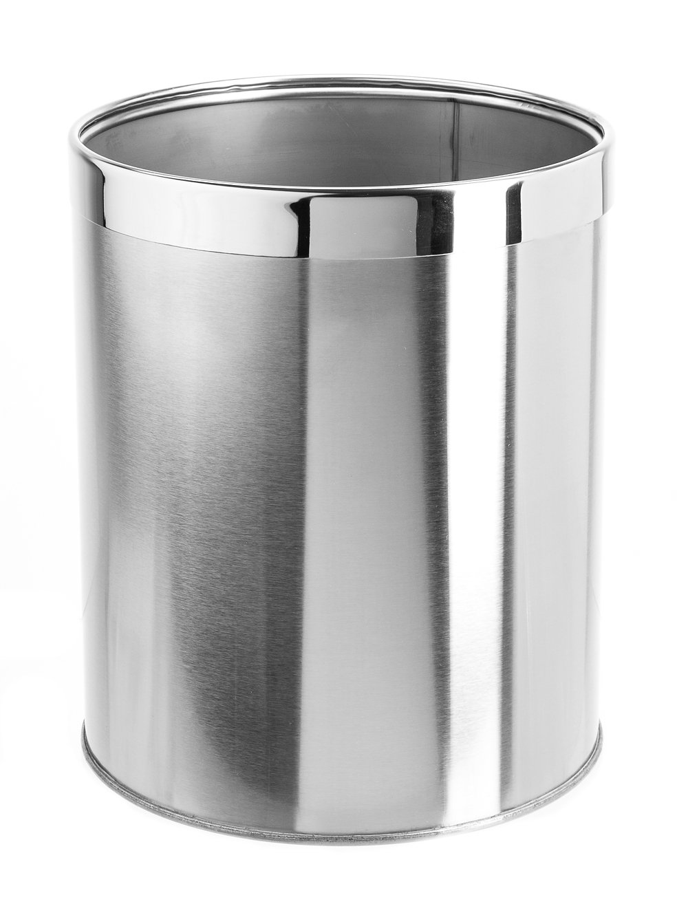 Bennett''Detach-A-Ring'' Trash Can, Small Office Stainless Steel Wastebasket, Modern Home Décor, Round Shape (Dia.8.8 x H10.6)