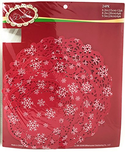 Red with White Snowflakes Assorted Lace Paper Doilies, 24 Count by Nantucket Home