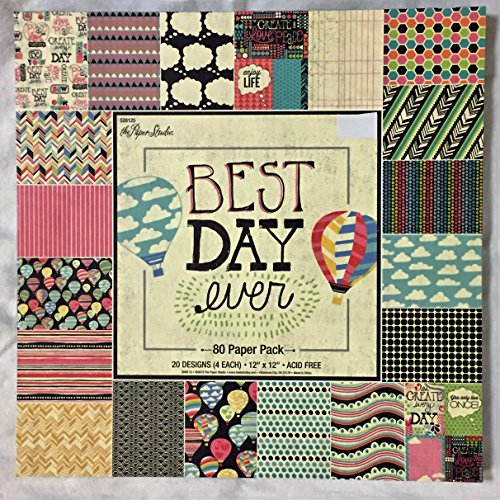 Best Day Ever 12x12 Scrapbooking Paper Pad, Celebrate Life, Hot Air Balloons (Pad Paper Day)
