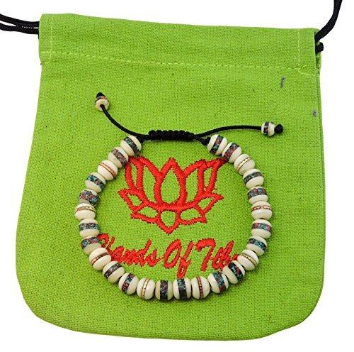 Tibetan Mala Embedded Medicine Wrist Mala for Meditation Handmade Draw String Silk Pouch (white medicine bracelet)