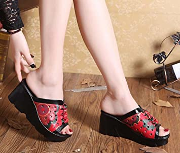 81506f216eb8 Onfly Cool Slippers Mules 6cm Wedge Heel Genuine Leather Sandals Women Hollow  Peep Toe Bowknot Flower