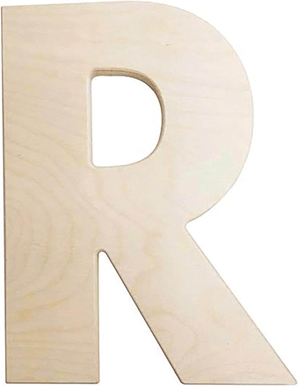 Darice U0993-R Bold Solid Wood Letter, Capital R, 12 in