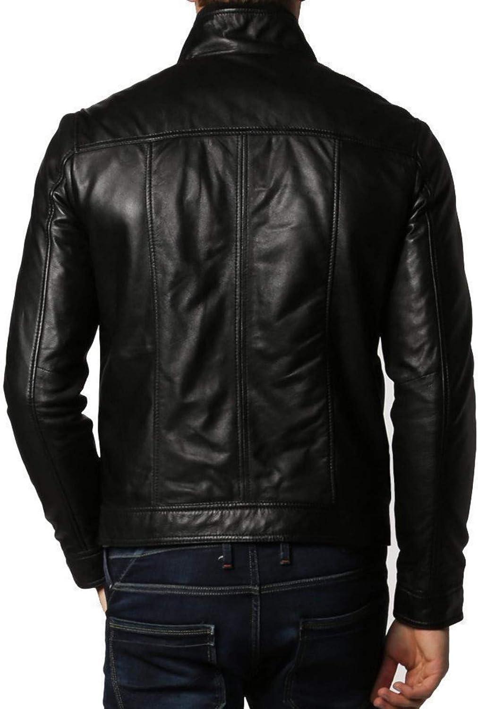 brandMe Mens Genuine Leather Pure Lambskin Biker Jacket MM404