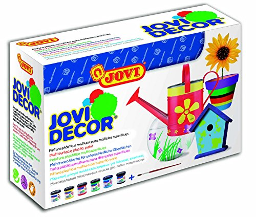 - Jovi Decor Craft Satin Finish Latex Paint; 1.8 oz. Jars, Set of 6 Core Colors, perfect for Arts and Crafts Projects