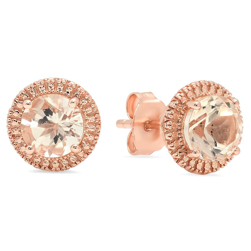 Rose Gold Plated Sterling Silver Round Cut Morganite Stud Earrings Stone size is 6mm