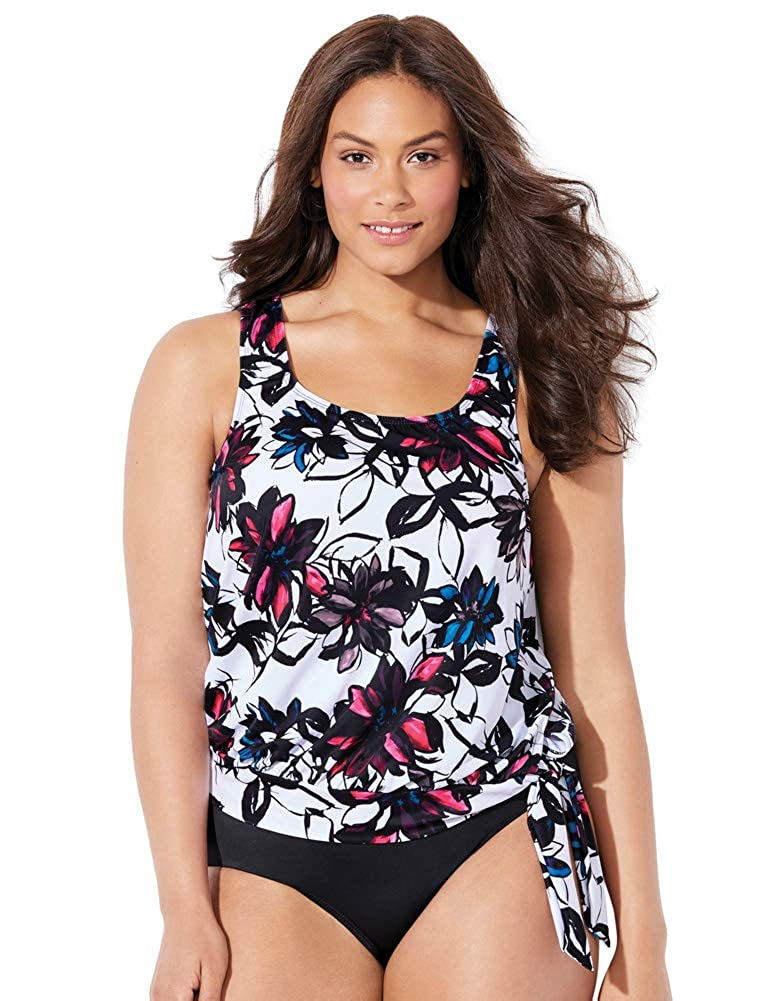 Swimsuits for All Women's White Floral Blouson Tankini Top swimsuitsforall 641053-pn