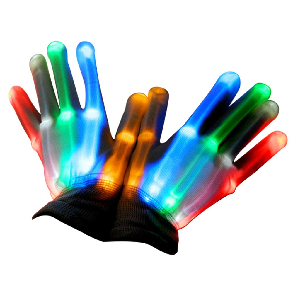 Elisona-1 Pair LED Colorful Flashing glow Gloves , Lighting Gloves for Dancing Carnival Concert Halloween Party
