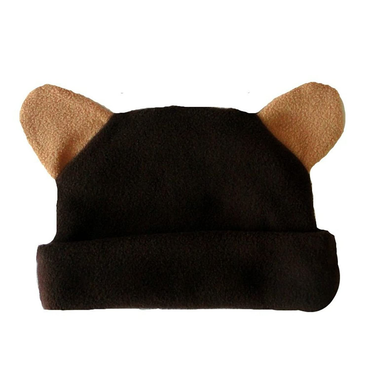 Jacqui's Unisex Baby Fleece Brown Bear Hat with Ears for cheap