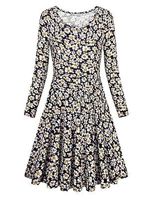 Furnex Women's Long Sleeve Floral Elegant Vintage A Line Dress