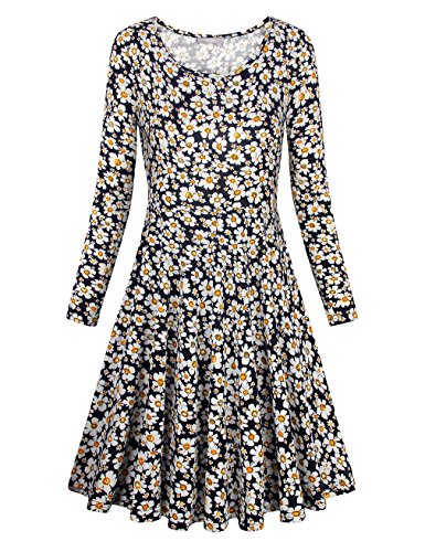Furnex Vintage Dress, 50s Retro Elegant Floral Dresses For Women Long Sleeve Daisies Flared Swing Dress Knee Length Cocktail Dress (X-Large,Blue White Floral) Daisy Print