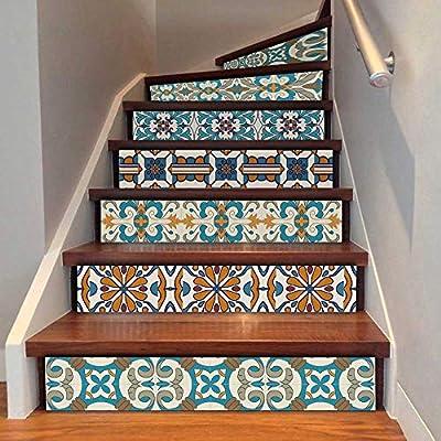 YOODECOR Pegatinas de Escalera 6 UNIDS Marruecos Estilo Pegatinas Autoadhesivas Escaleras Azulejos De Cerámica PVC Escalera Wallpaper Decal Vinilo Mural Escalera Decoración 18x100 CM: Amazon.es: Hogar