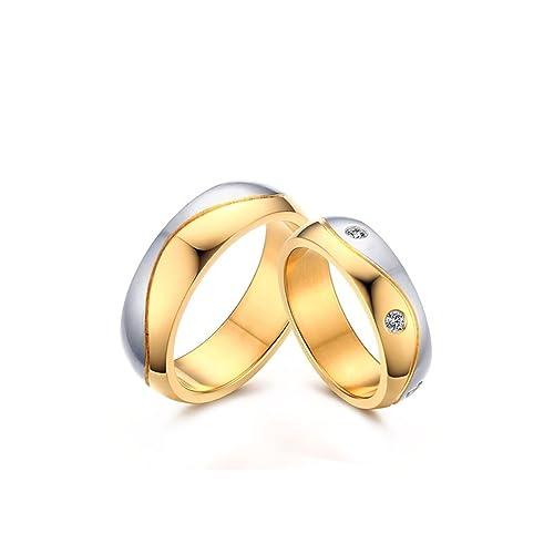 KNSAM - Ella y él alianzas de boda Anillos de compromiso de boda de acero inoxidable