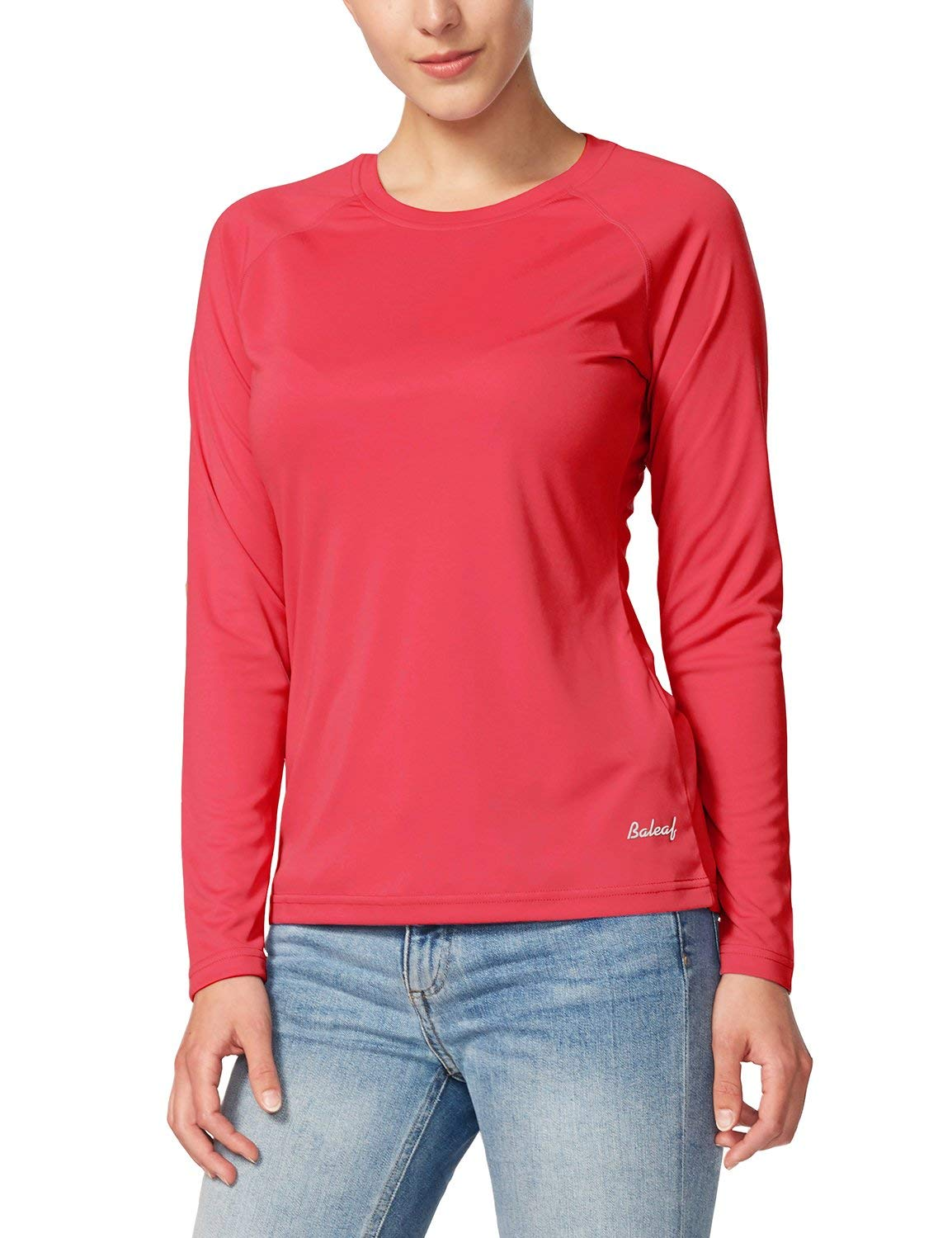 BALEAF Women's UPF 50+ Sun Protection T-Shirt Long Sleeve Outdoor Performance Rouge Red Size XXL by BALEAF