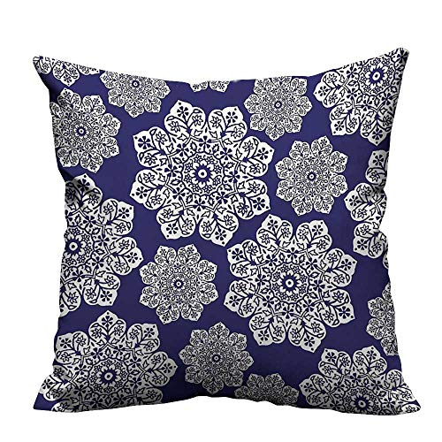 alsohome Sofa Waist Cushion Cover Floral Lace Snowflake ThemedRound Ornate Circle Batik Ideal Decoration 31.5x31.5 inch(Double-Sided Printing) Double Sided Quilted Batik
