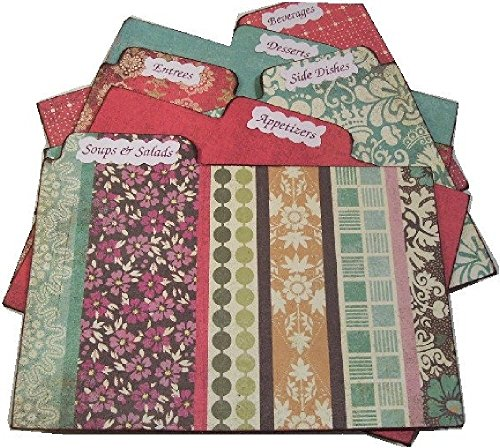 Recipe Box Tab Dividers, Multi Colored Stripes, 5.5 x 7 (7 x 5.5) Set of (6) STURDY Chipboard, Made to Order,