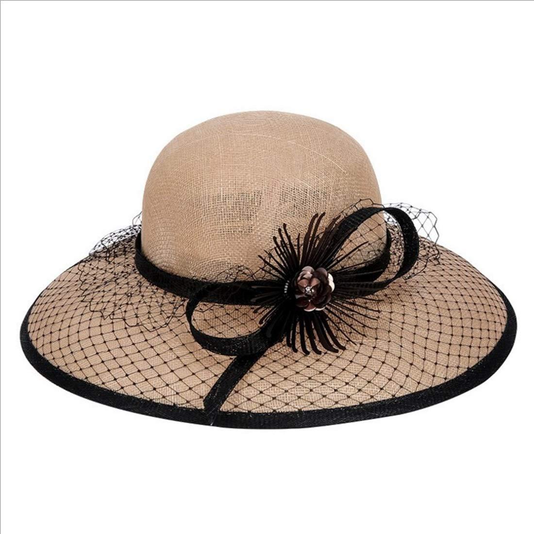 Beige KERVINJESSIE Beige Summer Straw Hat Cool Beach Hat Ladies Hat (color   Beige, Size   One Size)