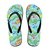 Couple Flip Flops Fish Ocean Animals Print Chic Sandals Slipper Rubber Non-Slip House Thong Slippers