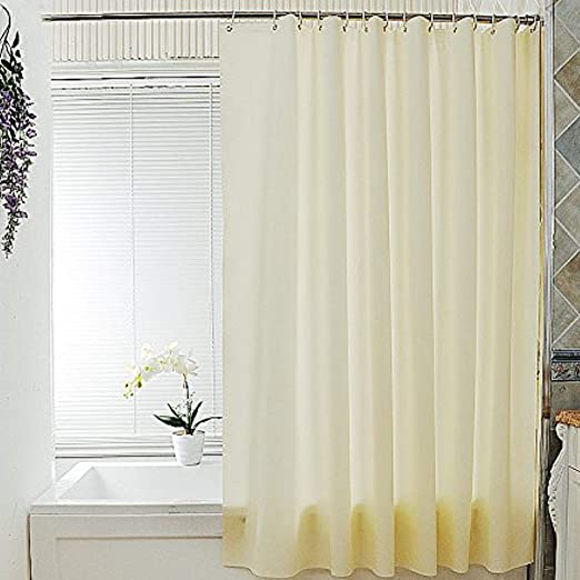Uforme Shower Curtain Liner Peva Water Resistand and Mildew Proof with Holes White Solid