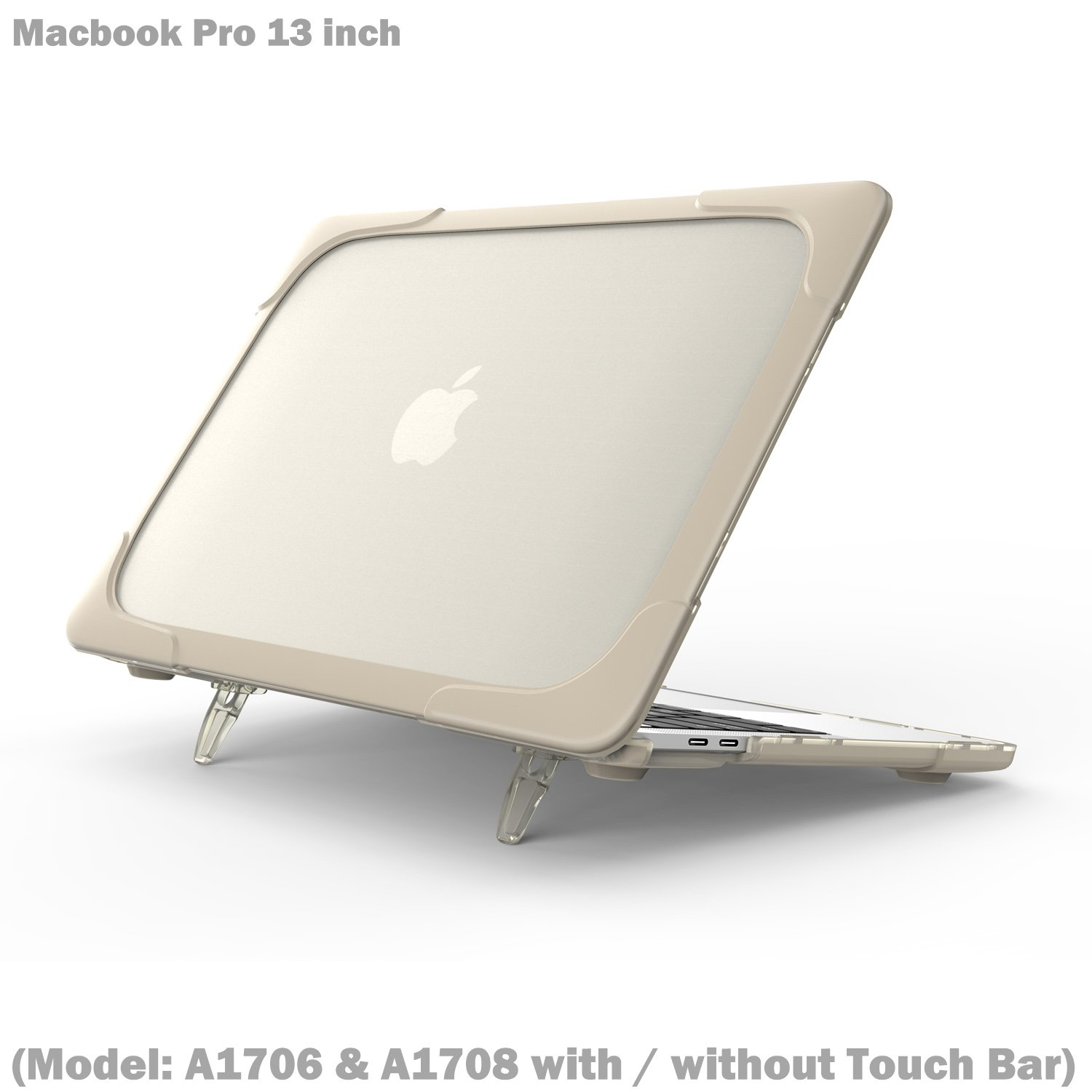 Wtiaw Compatible Macbook Pro 13 inch with/without Touch Bar Case,[Heavy Duty] [Dual Layer] Hard Case Cover with breathe and cool itself freely TPU Bumper Cover (Model: A1706 & A1708)-Khaki