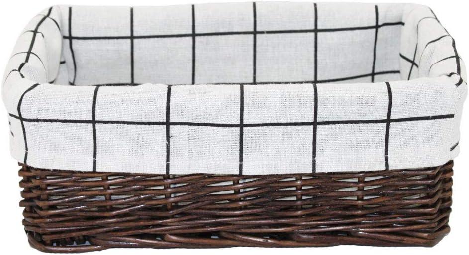 Darkbrown HD Wicker Storage Basket Arts and Crafts. Rectangular Storage Basket,Natural and Decorative