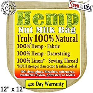 EcoPeaceful Hemp Nut Milk Bag - Truly 100% Natural. (Read our Fake Organic Warning). Sewn with Linen (flax) Threads (much stronger than cotton)