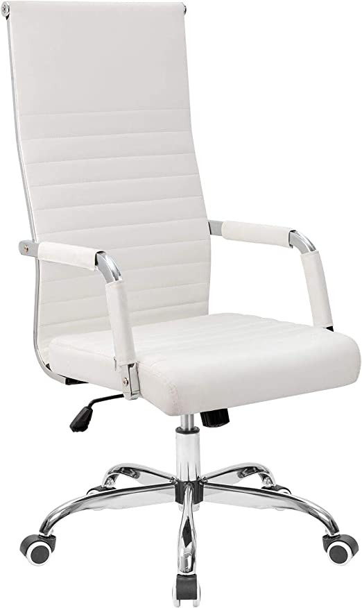 Tuoze Office Chair High-Back Leather Desk Chair Modern Executive Ribbed  Chairs Height Adjustable Conference Task Chair with Arms (White)