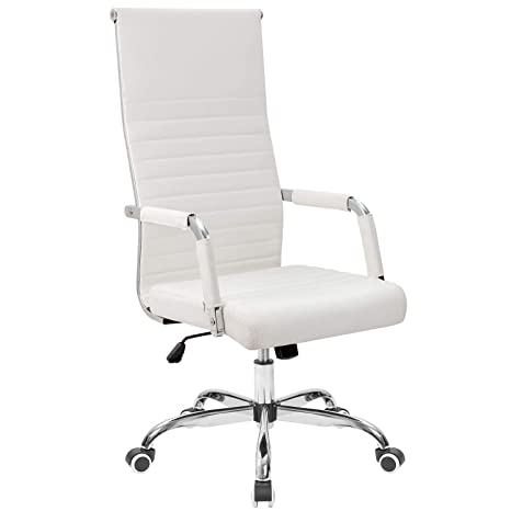 Tremendous Tuoze Office Chair High Back Leather Desk Chair Modern Executive Ribbed Chairs Height Adjustable Conference Task Chair With Arms White Gmtry Best Dining Table And Chair Ideas Images Gmtryco