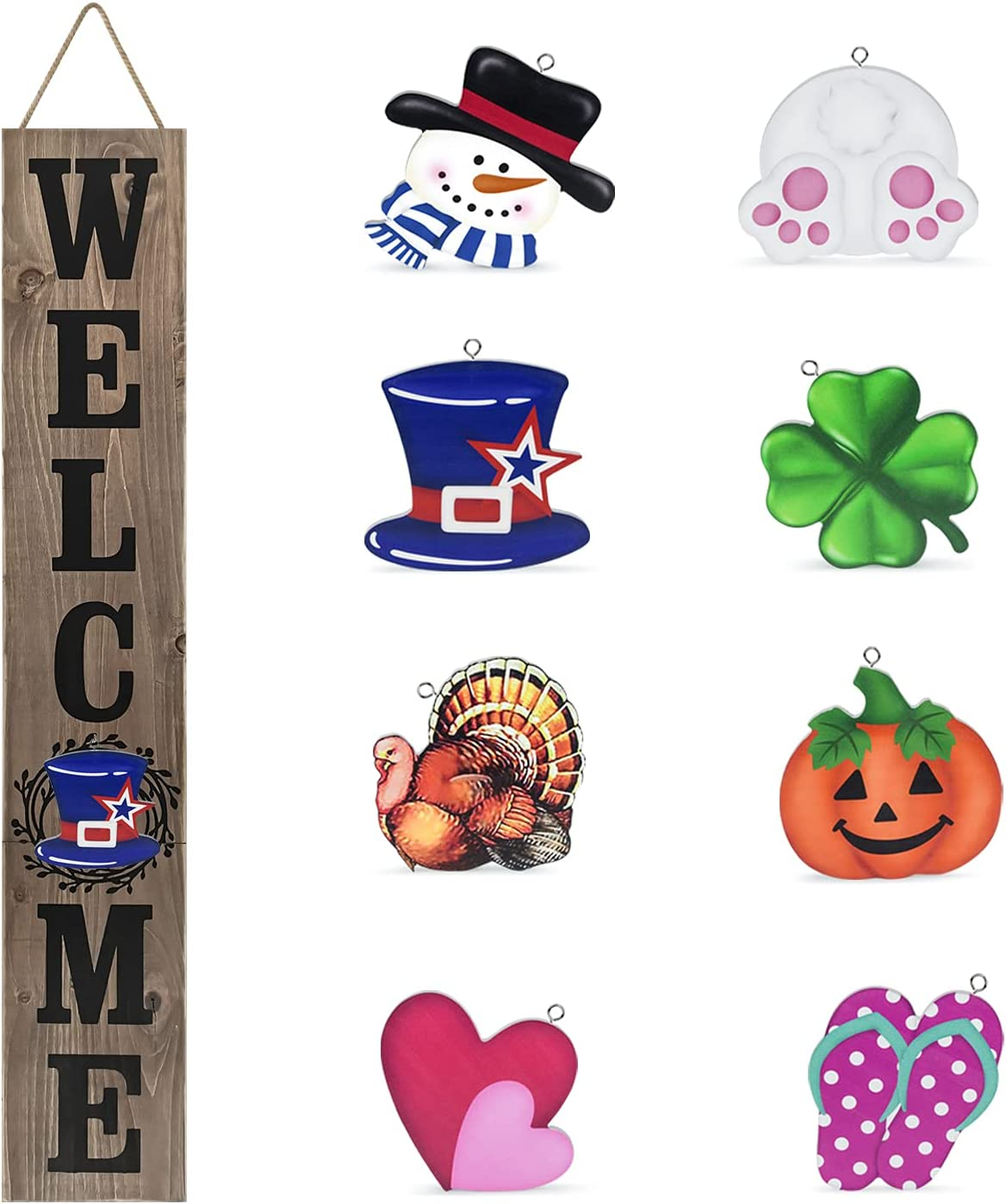 Winder Welcome Sign for Front Door Porch Farmhouse Outdoor Indoor Rustic Interchangeable Vertical Wall Decor Wooden Hanging Accessories Home Decorations
