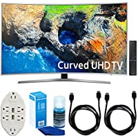 Samsung UN49MU7500 48.5 Curved 4K UHD Smart LED TV (2017) w/ Accessories Bundle Includes, Transformer Tap USB w/ 6-Outlet Wall Adapter & 2 Ports, 2x 6ft. HDMI Cable & Screen Cleaner For LED TVs