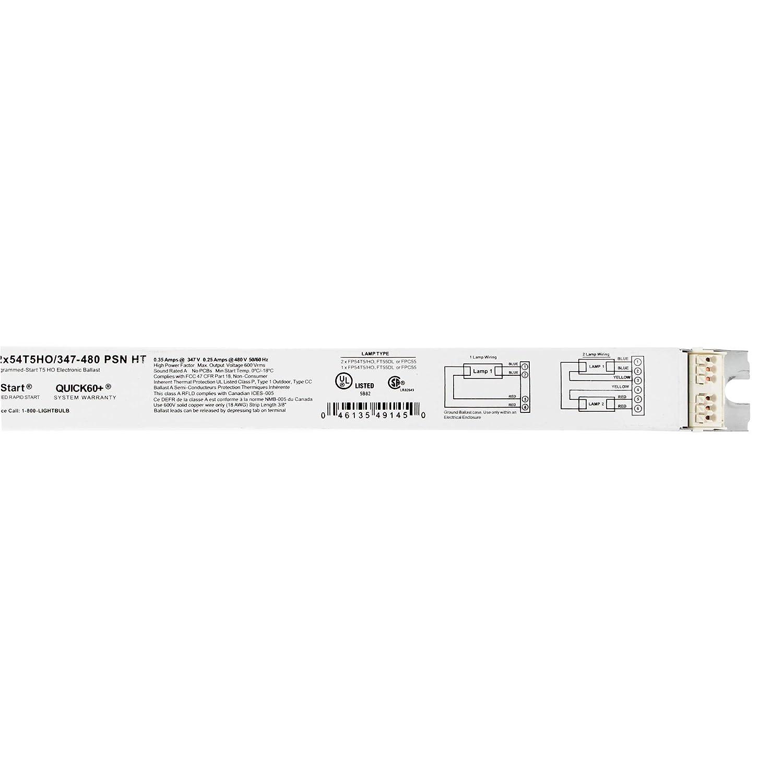 SYLVANIA QTP 2X54T5HO//347-480 PSN HT Ballast 0.35AMP 50//60HZ 480V 347V 2LAMP Programmed 0.25AMP