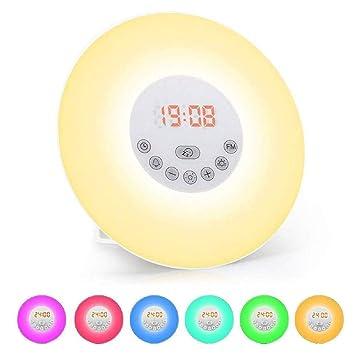 VADOO - Reloj Despertador con luz LED, 7 Tonos de Alarma, 6 ...
