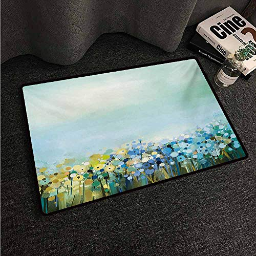 (HCCJLCKS Interior Door mat Flower Aqua Impressionist Depiction of a Field Paint with Blooms Tranquil Concept Print Country Home Decor W16 xL24 Pale Blue )