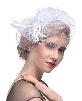 Feibao ladies church hat fascinator wedding headband for women hat feibao ladies church hat fascinator wedding headband for women hat veil flower feather amazon clothing solutioingenieria Images