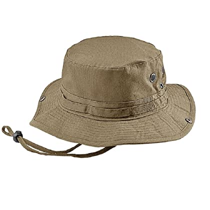 ba8fcf03ff3 Mega Cap Wholesale Washed Cotton Fishing Hunting Hiking Outdoor Bucket Hat  w Chin Cord (Khaki