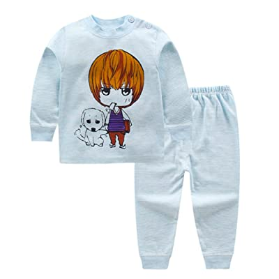 BAOBAOLAI Long Sleeve Cotton Pajamas Set Boys Girls Children 2PCs Cartoon Pattern Sleepwear