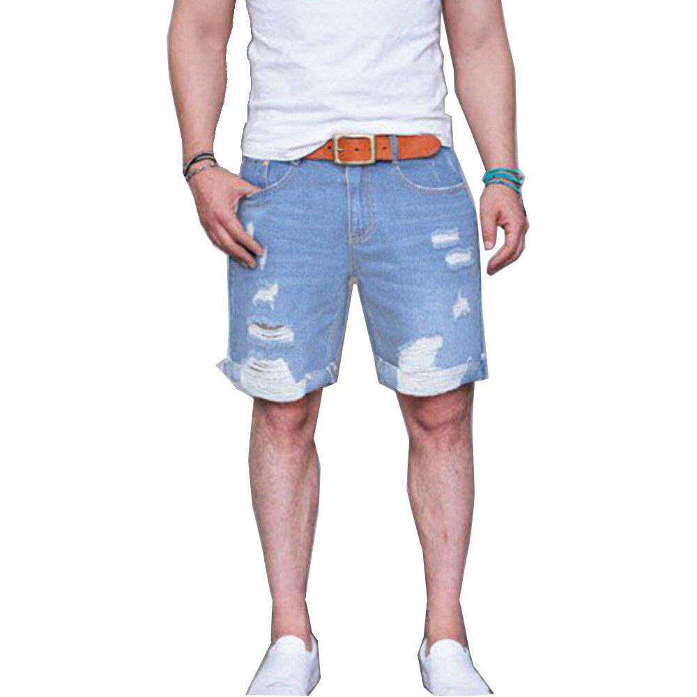 GETHIS Summer Men Denim Shorts, Teen Comfort Flex Casual Stretch Slim Fit Denim Short Jean Ripped Distressed with Hole Shorts (Light Weight Blue, L)