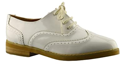 4d262d68318 Ladies Womens Girls Work Office Back To School Lace Up Brogues Shoe Size 3-8