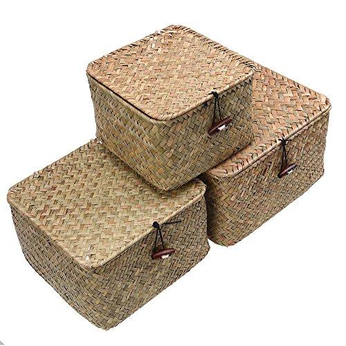 WCIC 3 Stück Aufbewahrungskiste Aufbewahrungskorb, Seegras Weben Fall Container Mülleimer Organisation Box mit Cover für…