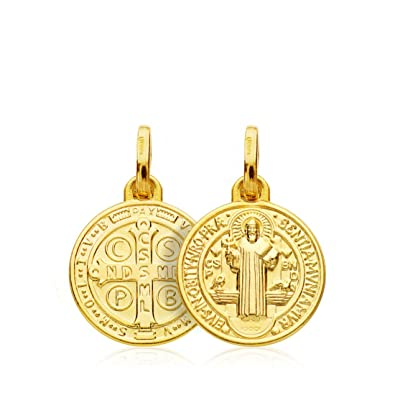0f33aa8d3bb Medalla Escapulario San Benito Monje Oro 18k 14mm  Amazon.es  Joyería